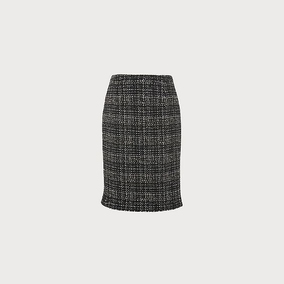 Italy Black Navy Tweed Pencil Skirt