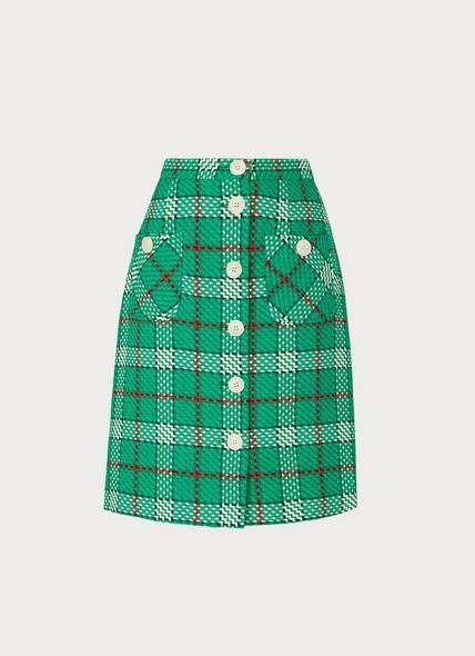 Lowri Check Tweed Button-Through Skirt