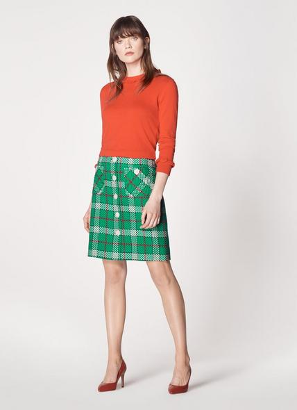 Lowri Check Tweed Button-Through Skirt