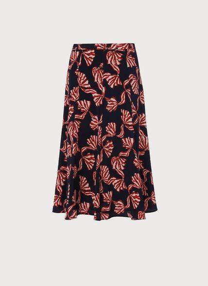 Mortimer Navy Bow Print Silk Skirt