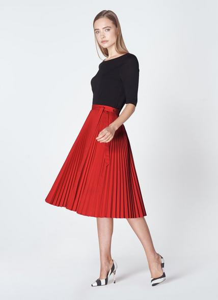 Patti Red Cotton Pleated Skirt