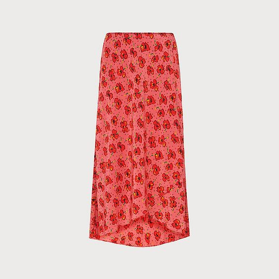 Simpson Poppy Print Silk Skirt