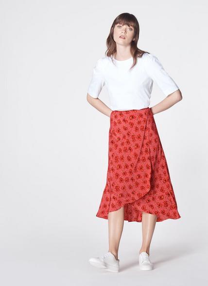 Simpson Poppy Print Silk Skirt