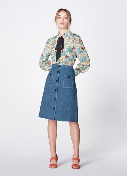 Wilson Button-Front Denim Skirt