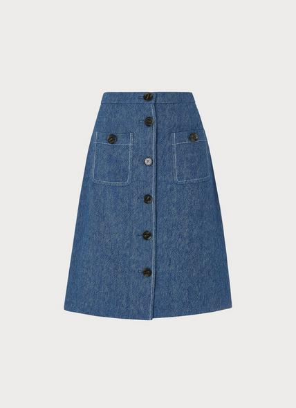 Wilson Button-Front Denim Skirt