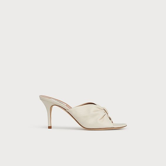 Nadia Off-White Leather Kitten Heel Mules