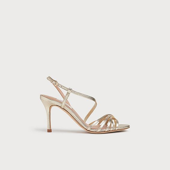 Naja Gold Leather Strappy Sandals
