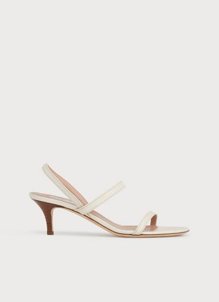 Natasha Off-White Leather Kitten Heel Sandals