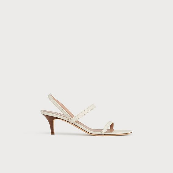 Natasha Off-White Leather Kitten Heel Sandals