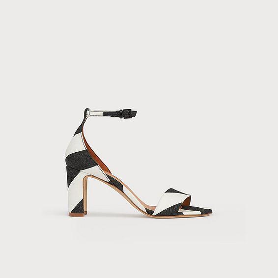 Nissi Monochrome Stripe Fabric Block Heel Sandals