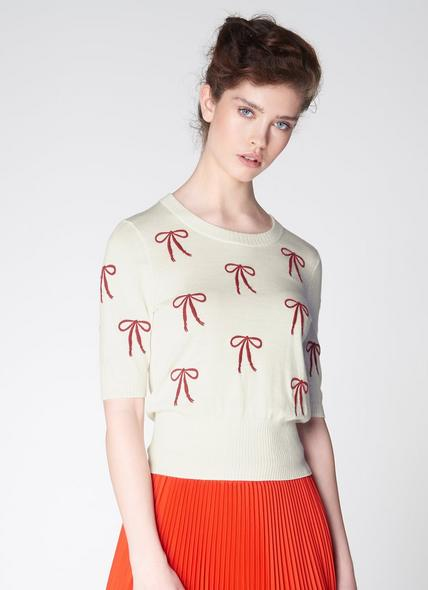 Adelin Cream Merino Wool Bow Embroidered Top