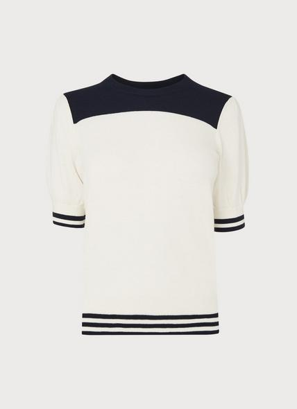 Brielle Cream & Navy Short-Sleeve Knit
