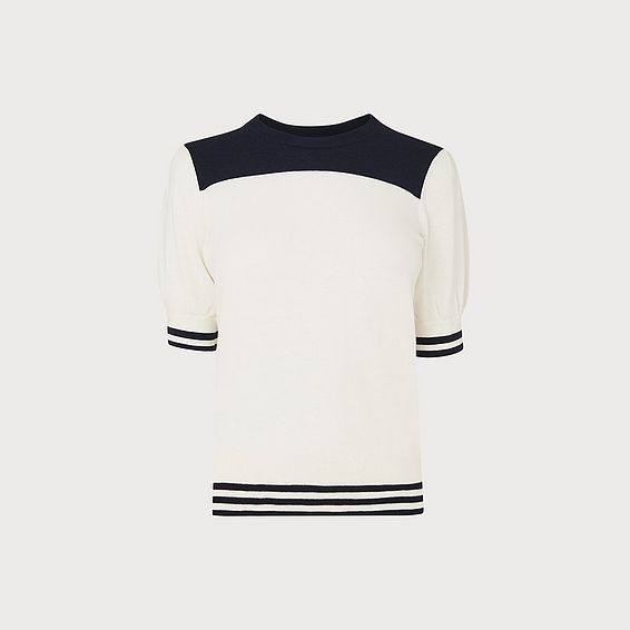 Brielle Cream & Navy Short-Sleeve Knit