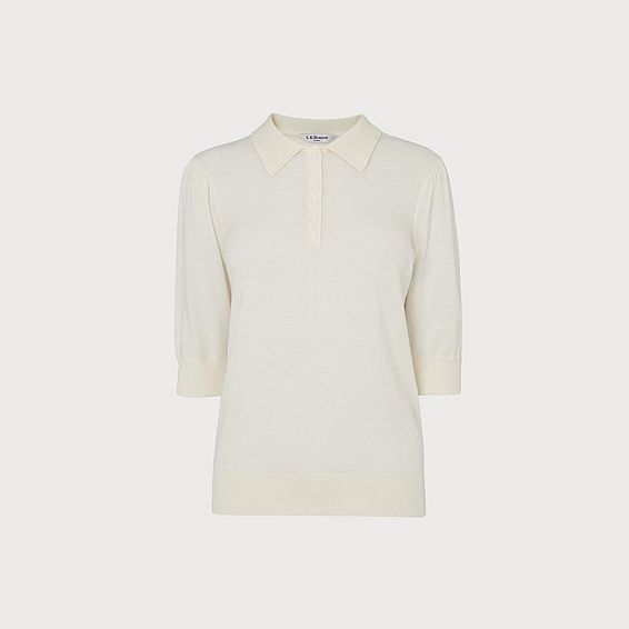 Gina Cream Knit Polo Shirt