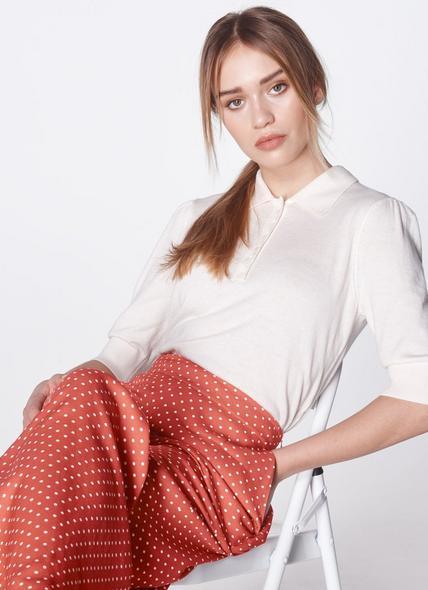 Gina Cream Knit Polo Shirt