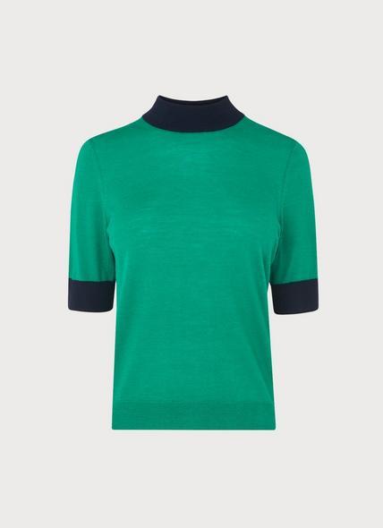 Hanna Green Merino Wool Short-Sleeve Knit