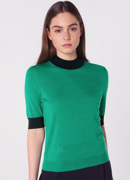 Hanna Green Merino Wool Short-Sleeve Knit