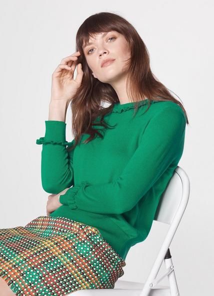 Hazel Green Wool-Blend Frill Jumper
