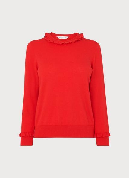 Hazel Red Wool-Blend Frill Jumper