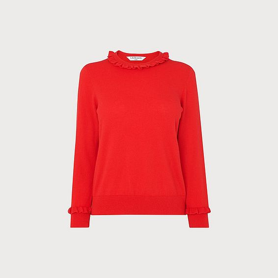 Hazel Red Wool-Blend Frill Jumper
