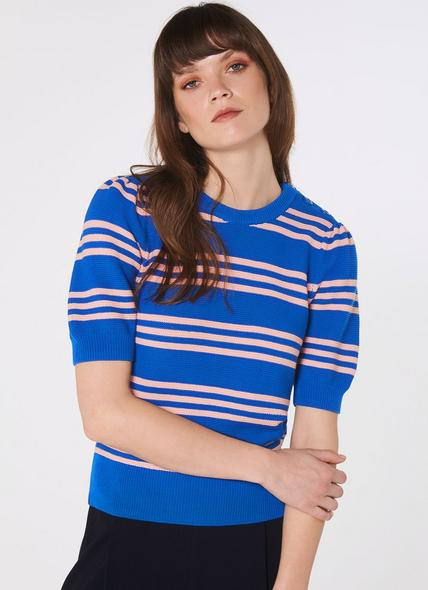 Isobel Blue Stripe Cotton Jumper