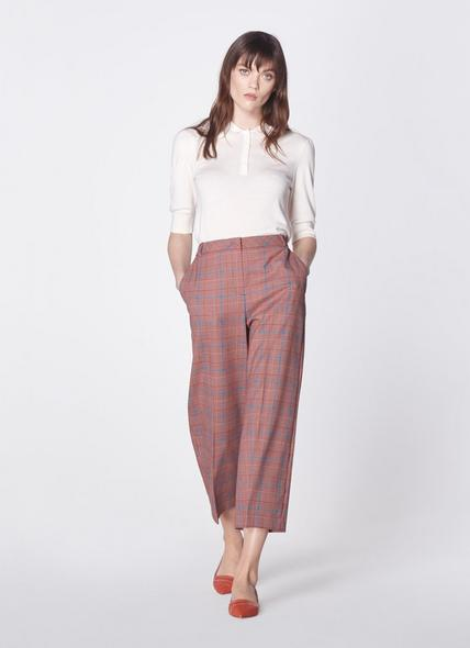 Eunice Prince of Wales Check Wide-Leg Trousers