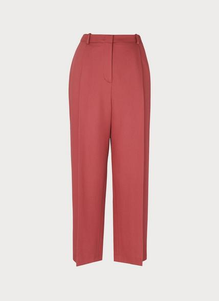 Irene Clay Pink Wide-Leg Cropped Trousers