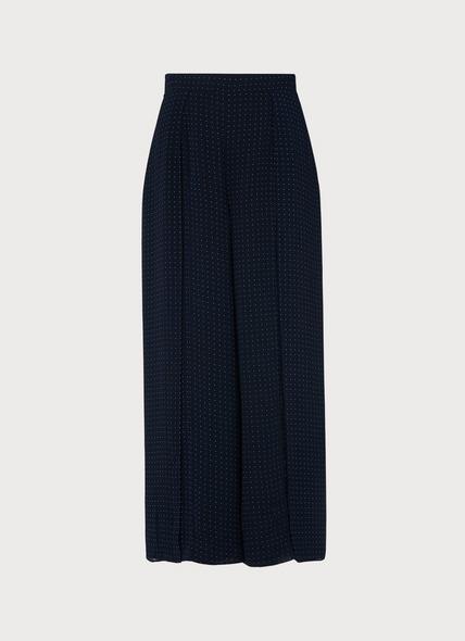 Klee Navy Polka Dot Wide-Leg Trousers