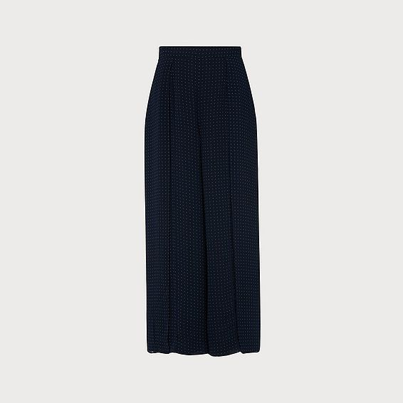 Klee Navy Polka Dot Wide-Leg Trousers
