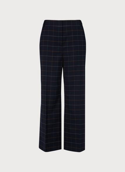 Leslie Window Pane Check Wide-Leg Trousers