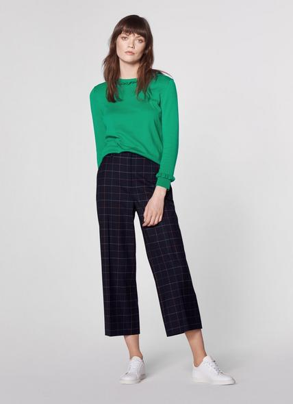 Leslie Window Pane Check Wide-Leg Trousers