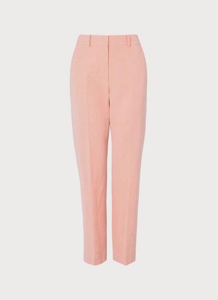 Sweetpea Pink Linen-Blend Trousers