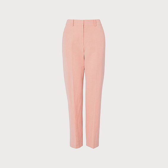 Sweetpea Pink Linen-Blend Trousers