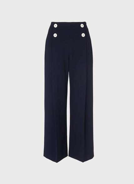Parker Navy Wide-Leg Trousers