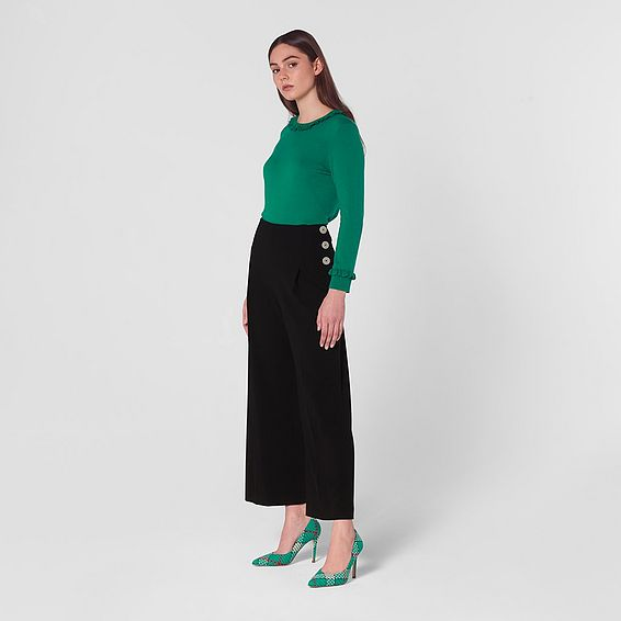 Prince Black  Wide-Leg Trousers
