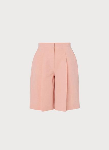 Sweetpea Pink Linen-Blend Shorts