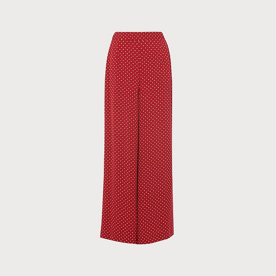 Zazou Polka Dot Print Wide Trousers
