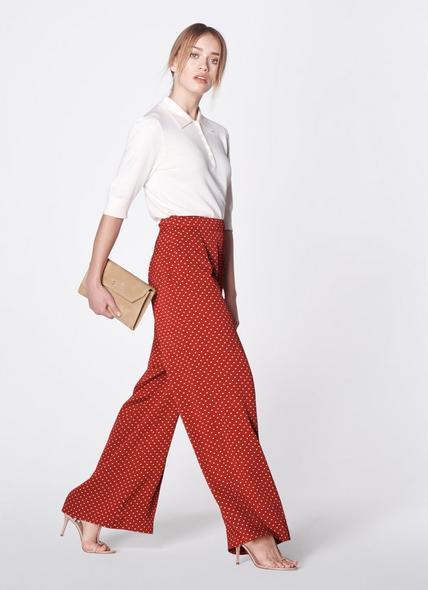 Zazou Polka Dot Print Wide Trousers