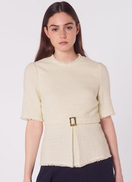 Bernice Cream Cotton Crew Neck Blouse