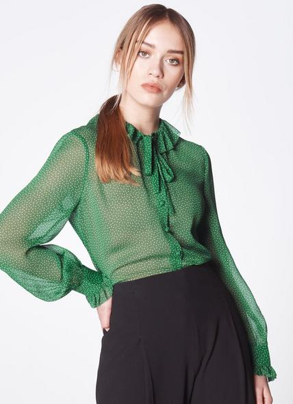 Eliza Spot Print Frill Collar Blouse