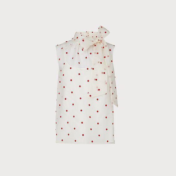 Glinda Cream & Red Spot Embroidered Silk Organza Top