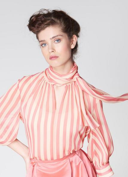 Holzer Pink Candy Stripe Pussy Bow Blouse