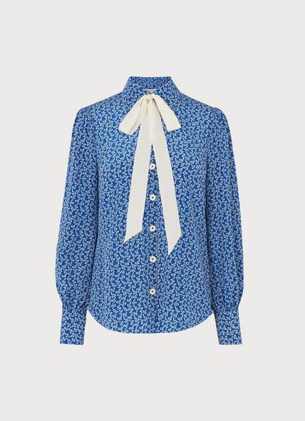 Mathilde Blue Bow Print Silk Shirt
