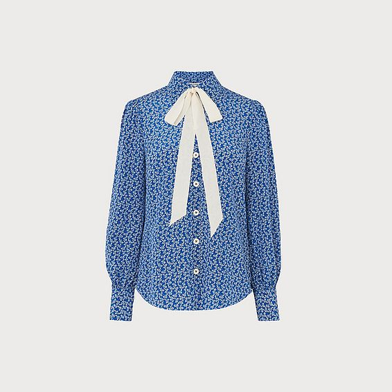 Mathilde Blue Bow Print Silk Shirt
