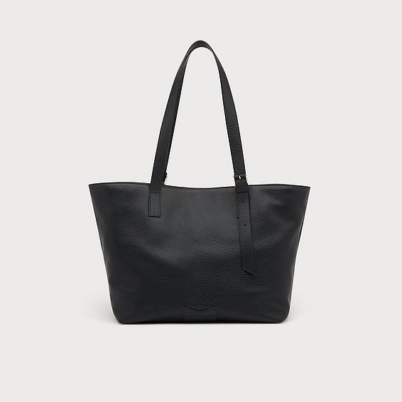 Leyla Black Leather Tote Bag