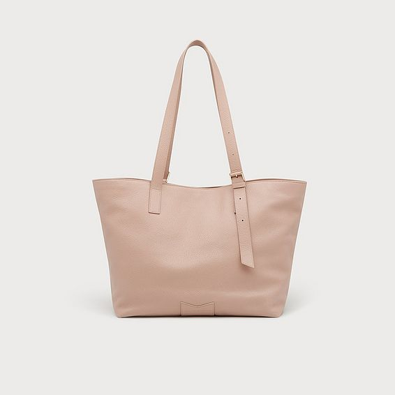 Leyla Clay Pink Leather Tote Bag