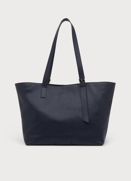 Leyla Navy Leather Tote Bag