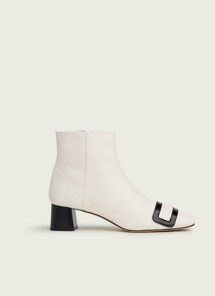 Aria White & Black Leather Ankle Boots