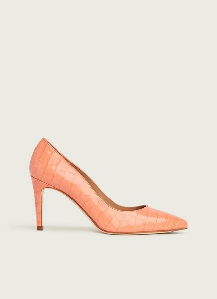 Floret Apricot Croc-Effect Leather Courts