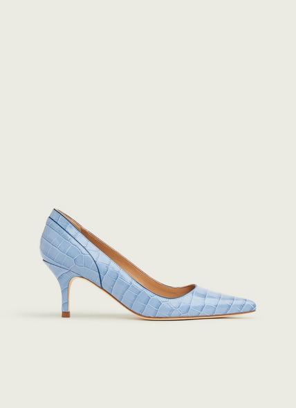 Franny Blue Croc-Effect Courts